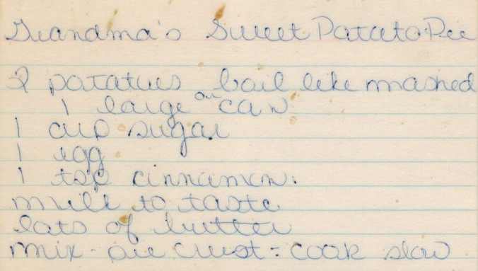 Grandma's Sweet Potato Pie Recipe